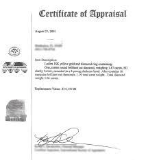 Certificate of Appraisal