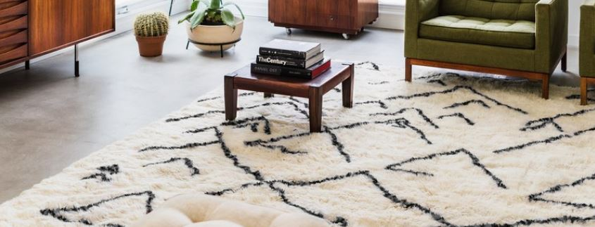 Beautiful Moroccan rug, with a combination of tribal patterns, adds life to an otherwise plain living room.