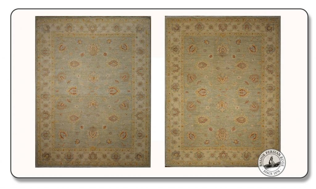 The rug on the left represents the darker shade of an Afghan wool carpet while the rug on the right features the same rug but from its light side.